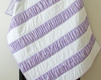 Purple Ruffle Quilt Blanket Throw Girl Stripe