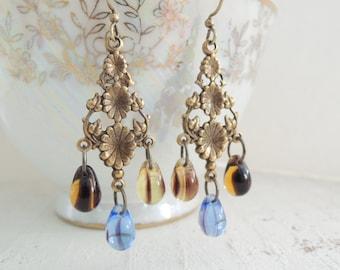 Blue Gold Bohemian Earrings Floral Chandelier Dangles Czech Glass Drop Earrings Topaz Sapphire Glass Teardrop Earrings Boho Brass Earrings