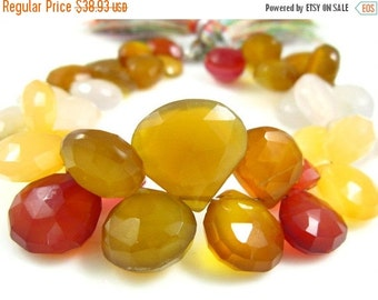 "MEGA SALE Multi Chalcedony Faceted Heart Briolette- 7"" Strand -Stones measure-9-13mm"