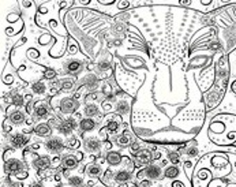 "Leopard zen BW 18"" x 21"""