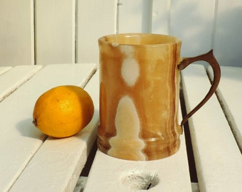 Marble, alabaster, hand carved tankard, beer mug, jug, vintage French