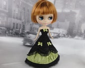 Long black and light green victorian dress hand made fits Blythe doll