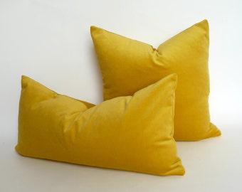 buttercup yellow velvet pillow case // yellow velvet cushion case // rectangle velvet pillow