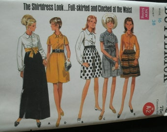 UNCUT and FF Pattern Pieces Vintage Butterick 4832 Sewing Pattern Size 16 One-Piece Dress in Two Lengths