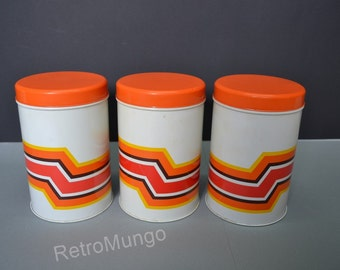 Vintage set of three canisters, 70's  decor ,   made  by Impala - Schiedam - Holland