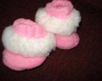"""doll Baby 15"""" Doll Clothes - Pink fleece fabric with white furry trim  Slippers Booties"""
