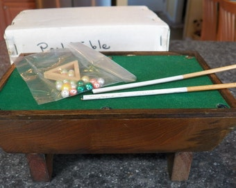 Vintage Miniature Dollhouse POOL TABLE~Wooden New In Box w/Balls Rack & Sticks