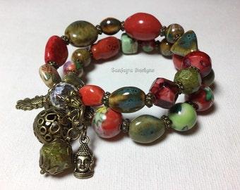 Multi tiered bronze bracelet