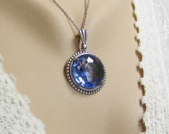 Light Blue Sapphire Necklace, Sapphire Necklace, September Birthstone, Sapphire Crystal, Czech Glass Faceted Sapphire, Blue Sapphire
