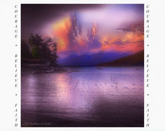 Greeting Cards for Breast Cancer Patients & Survivors, Card for Cancer Survivor, Lake George New York painting, Cancer Support, iPad Art