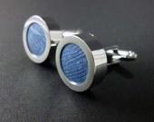 Sea blue silk mens cuff links - 12th or 4th anniversary cufflink present – silk anniversary gift – blue wedding cufflinks