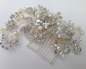 Bridal Hair Comb With Crystals and Freshwater Pearls, Wedding Hair Comb, Crystal Hair Comb, Bridal Headpiece,