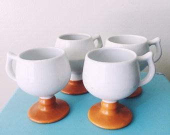 Set of 4 Vintage Hand Made Caribe Puerto Rico Burnt Orange Pedestal Mugs