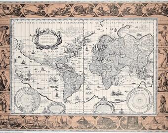 "Vintage 1980s Graphic Arts Show Poster World Map  ""Nova Totius Terrarum Orbus"" 25 x 19"
