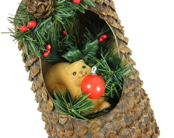 Vintage Christmas Decoration, Woodland Squirrel in Tree, Wall Decor