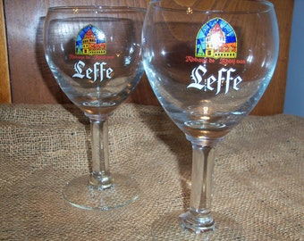 Set of 2 Leffe Belgian Beer Glasses Large