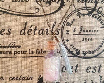 Antique-finish Mini Bottle gemstone necklace