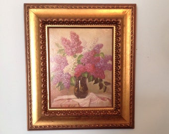 Study in Lilacs lithograph textured cardboard print framed floral bouquet gold wood frame wall art hanging romantic cottage chic home decor