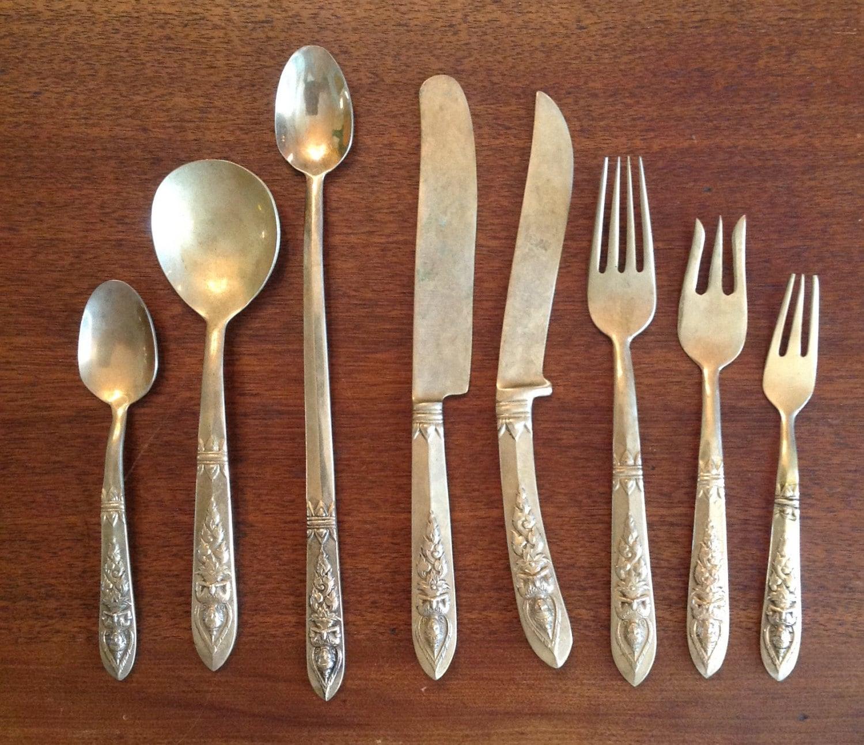 73 piece set flatware thailand siam bronzeware bronze thai - Thailand silverware ...