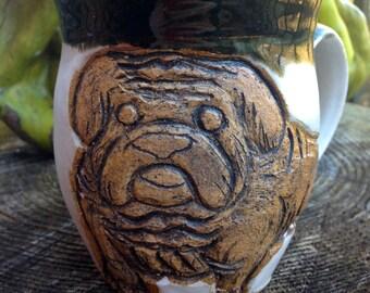 Hand-Carved Pottery Mug Bulldog- Athens Ga- Handmade