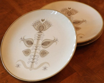 "Vintage Franciscan Earthenware ""Spice"" Pattern Set of Four Dinner Plates"