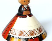Vintage Estonian wooden doll Salvo from Soviet era. Collectible doll 70s in national costume.