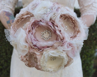 Blush and lace fabric bouquet, brooch fabric bouquet