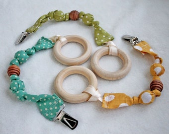 Pacifier clip, Pacifier sling, Binkie, with Wood Teething Ring - Neutral Colors