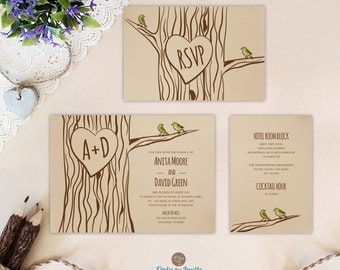 Oak Tree Wedding Invitation Set: Invite, RSVP Postcard, Enclosure Card    Rustic Forest