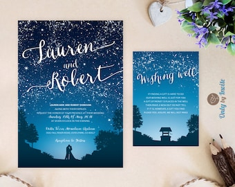 Starry Night Wedding Invitation and wishing well card   Under the stars wedding theme   Printed invitation and info card   Marriage invites