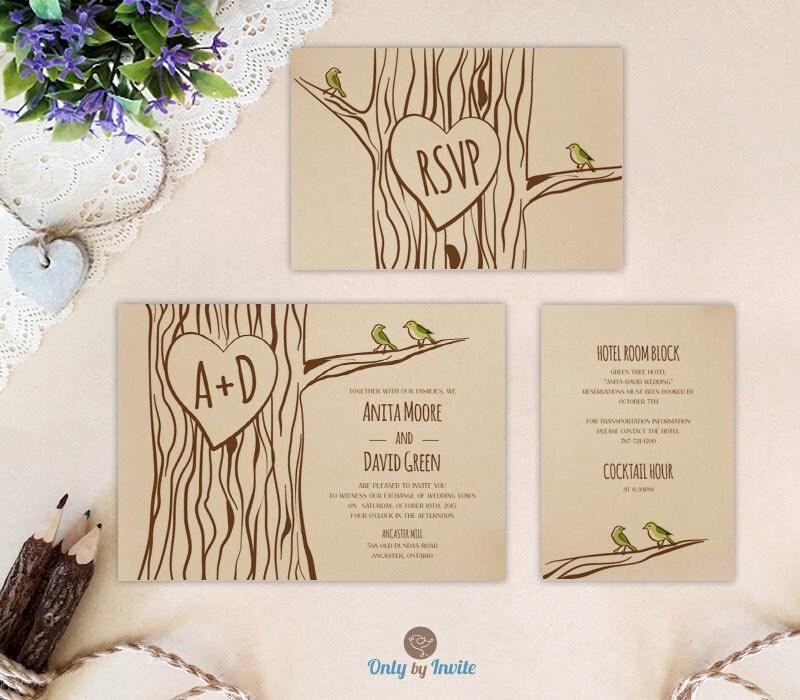 Cheap Wedding Invitations Packages: Oak Tree Wedding Invitation Set: Invite RSVP Postcard