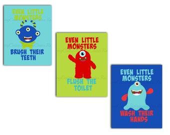 Monster Bathroom Wall art-Boys Bathroom prints-Kids Bathroom wall art-Bathroom Rules Prints-PRINTABLE bathroom wall art-Monster decor