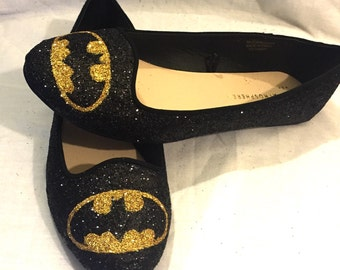 Batman black and gold glitter superhero shoes