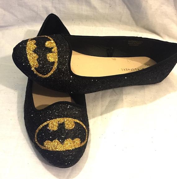 Batman black and gold glitter superhero shoes
