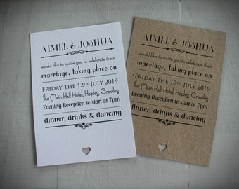 Wedding Day Evening Invitations Vintage/Shabby Chic Rustic Style Handmade Personalised