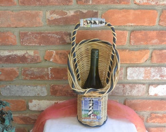 Wine Caddy Basket - Wicker, Tile, Great Gift - Vintage - Fabulous!