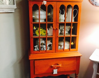Vintage Rustic Country Shabby Chic Painted Orange Hutch China Cabinet Cupboard
