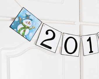 SALE, FREE SHIPPING, 2017 Banner, Happy New Year sign, New years party decoration, New years eve decor photo prop, Happy new year garland