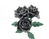 3 Purple Leather Roses Flower Bouquet  Long Stem Green Leather Wife/Girlfriend/Valentines Day Gift