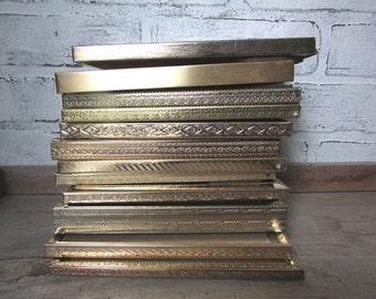 12 Gold Frames Vintage Brass or Metal Frames 5 x 9 DIY Wedding Decor