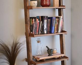 Ladder bookshelf, Dark Walnut stain