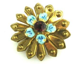 1950s Brass Blue Enamel Red Rhinestone Flower Brooch
