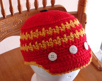 Crochet Newsboy Style Cap in Red and Gold