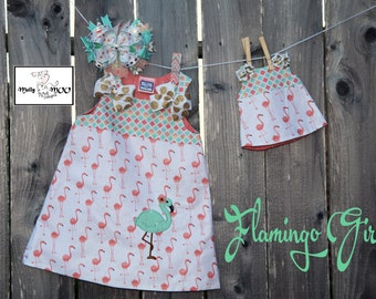 Dolly and Me Dress-Flamingo Girl (Dolly Dress only)