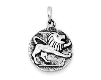 Sterling Silver Polished Antique Finish Leo Horoscope Pendant