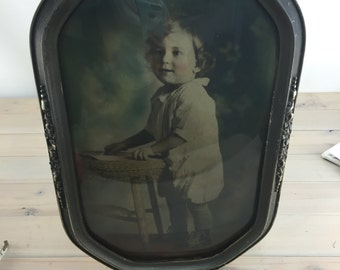 Antique Hand Tinted Child Portrait, Early 20th Century 1910s-1920s Child Picture Portrait Behind Convex Curved Glass
