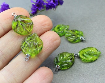 Lampwork Leaves Beads Set 7 pcs, Leaf Lampwork Beads, Glass Beads, Handmade Focal Beads, Lampwork Beads, Lampwork Leaves Beads, Leaf Beads