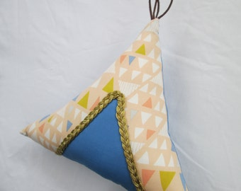 Teepee Pillow in Peach, Blue, White, and Gold Geometric Fabric with gold braid trim, Southwest Decor, Southwest Baby Nursery, Ready to Ship