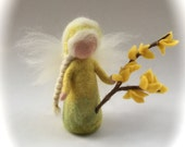 Forsythia flower child.Wet  felted. Waldorf. Felted. flower fairy.