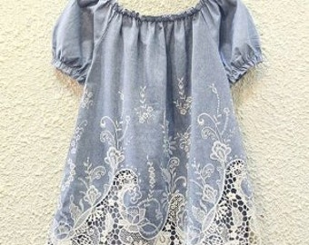 Blue  Blouse with Lace.Embroidered Women's Blouse . Summer. Girl Blue Sky Blouse. Blue Blouse. Summer. Summer Clothing. Beach Blouse. Gift